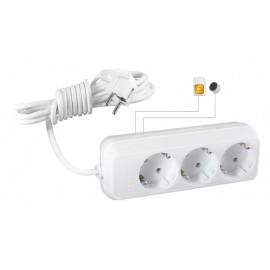 Microfon Spion GSM Profesional Integrat in Prelungitor Clasic 220V Triplu - Activare Vocala [MI3]