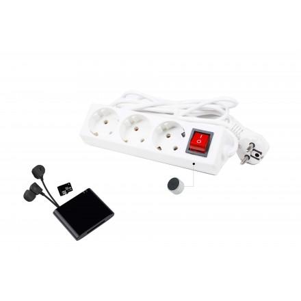 Microfon Wireless si Reportofon 32GB - 3KM cu Activare Vocala Integrat in Prelungitor Clasic 220V + Unitate de Receptie [GS-KR]