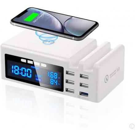 Microfon Spion cu Apelare Telefonica Integrat in Statie de Incarcare Telefoane Mobile (USB + Wireless) cu Ceas Digital [ONC11]