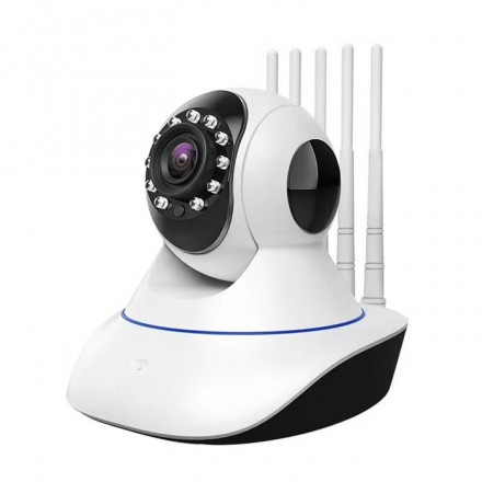 Camera De Supraveghere Smartech Self-Protect Wifi 5 Antene - PTZ Rotatie 360 - NightVision  - Alarmare - 128GB - 1080HD - Monitorizare in Timp real - Instalare Rapida [H18]